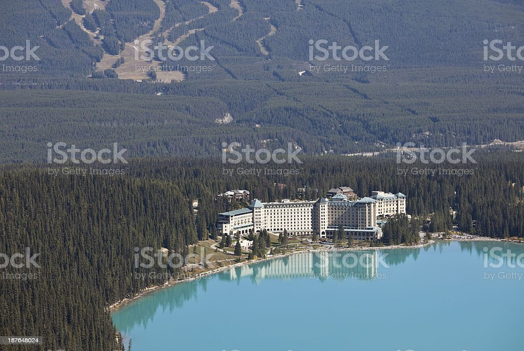 An aerial shot of summer at Lake Louise, Alberta, Canada.  stock photo