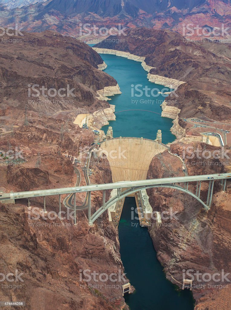 An aerial shot of the Hoover Dam and Lake Mead stock photo