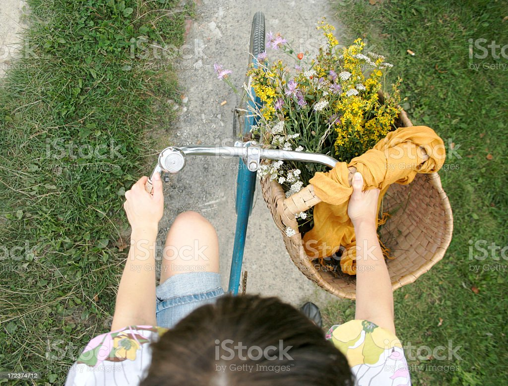 An aerial view of a bike rider stock photo