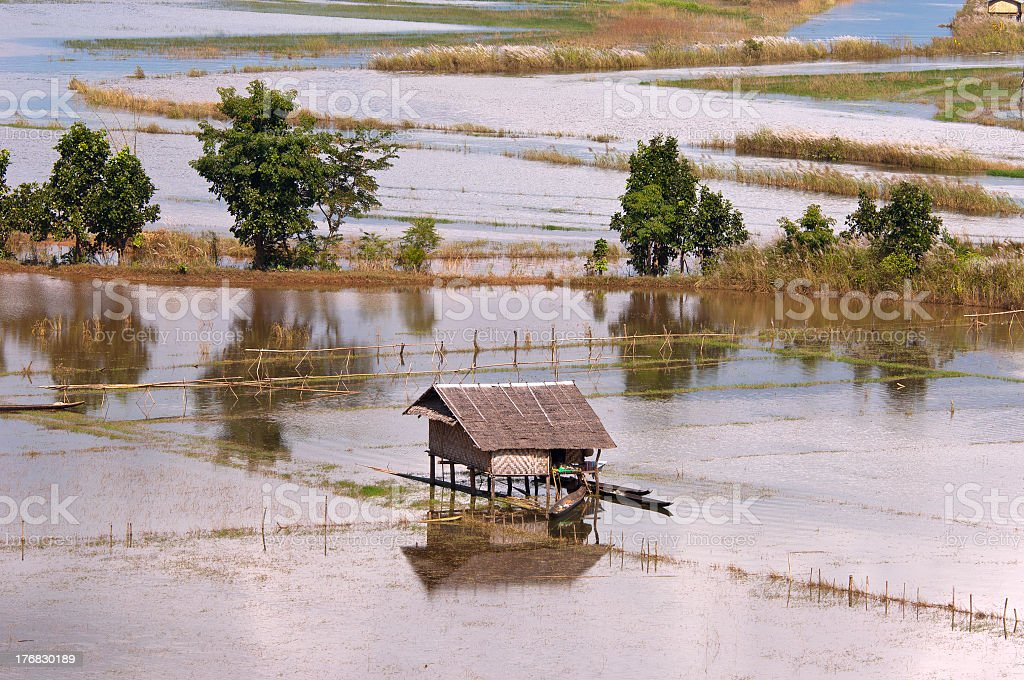 An aerial view of a flooded field stock photo