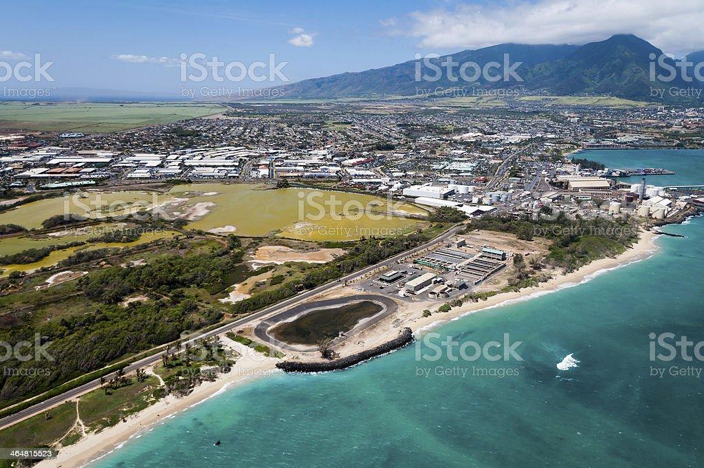 An aerial view of a Maui beach stock photo