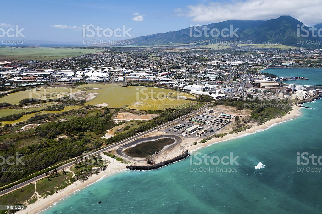 An aerial view of a Maui beach stock photo