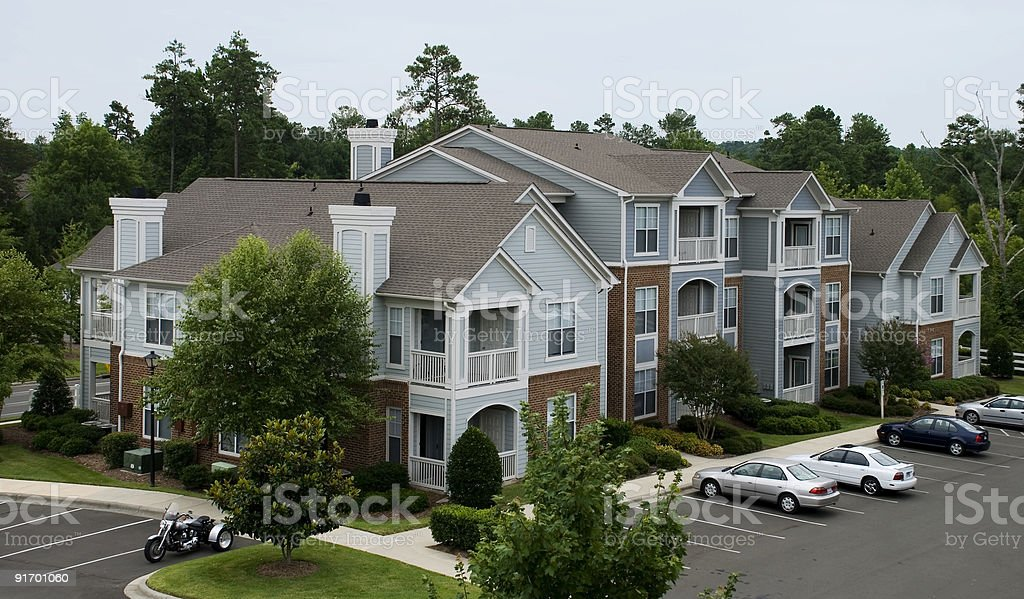 An aerial view of a nice apartment complex  stock photo