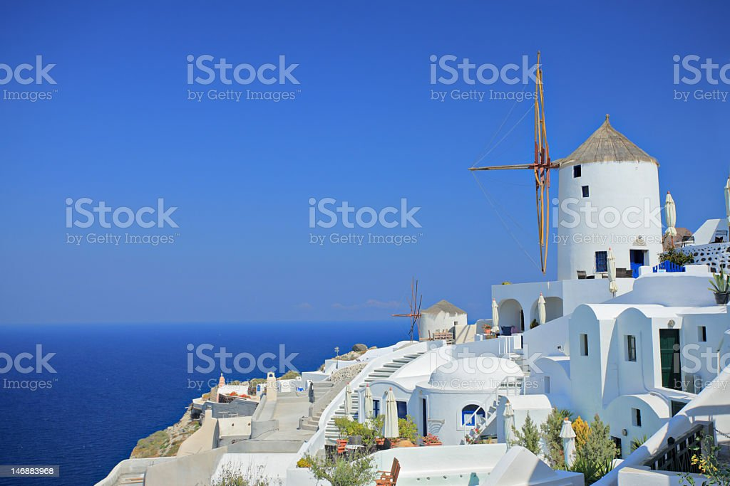 An aerial view of a windmill on Santorini Island stock photo