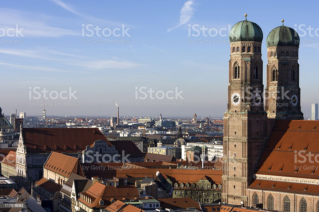 An aerial view of downtown Munich with red roof tops royalty-free stock photo
