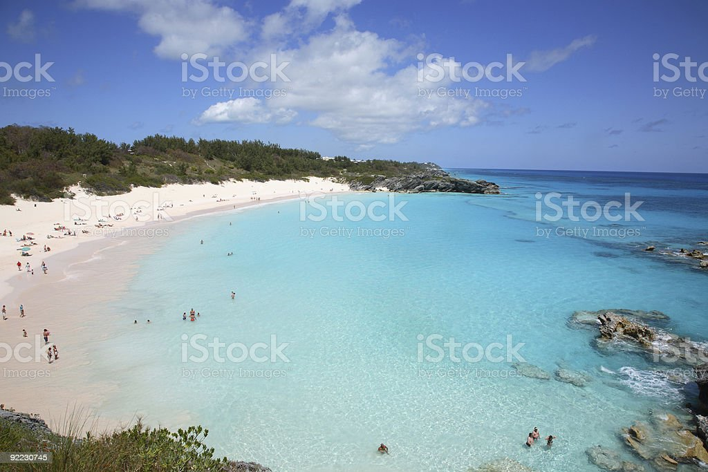An aerial view of Horseshoe Bay during a sunny day stock photo