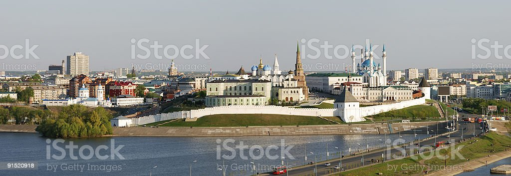 An aerial view of Kazan Kremlin stock photo