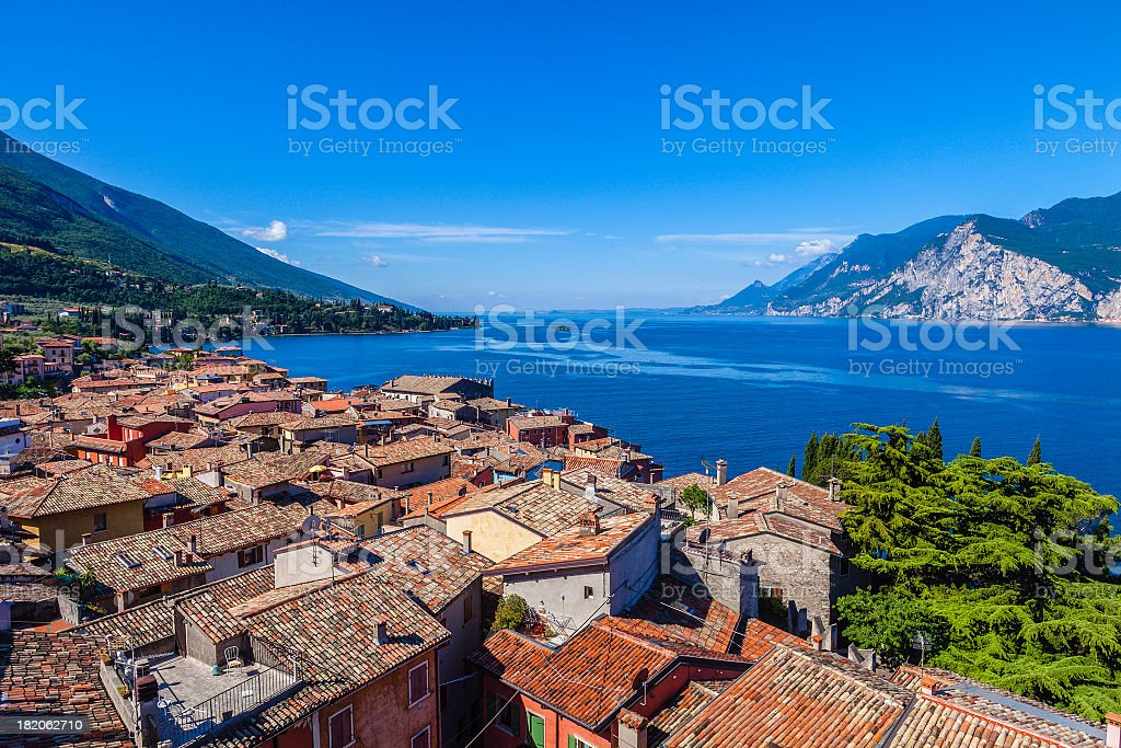 An aerial view of Malcesine and Lake Garda royalty-free stock photo