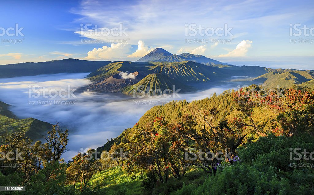 An aerial view of mountain tops in the fog stock photo