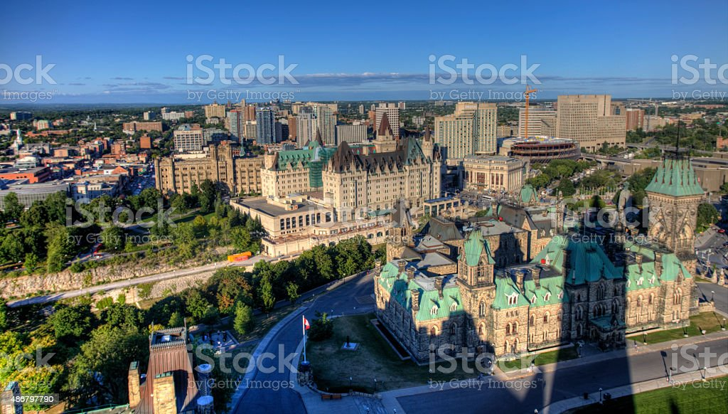 An aerial view of Ottawa, Canada stock photo