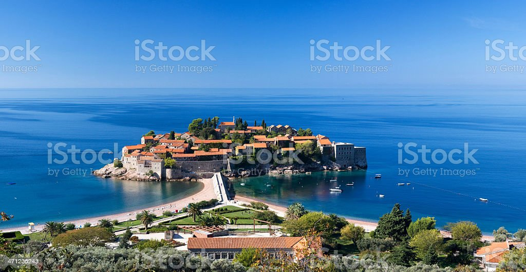 An aerial view of Sveti Stefan stock photo