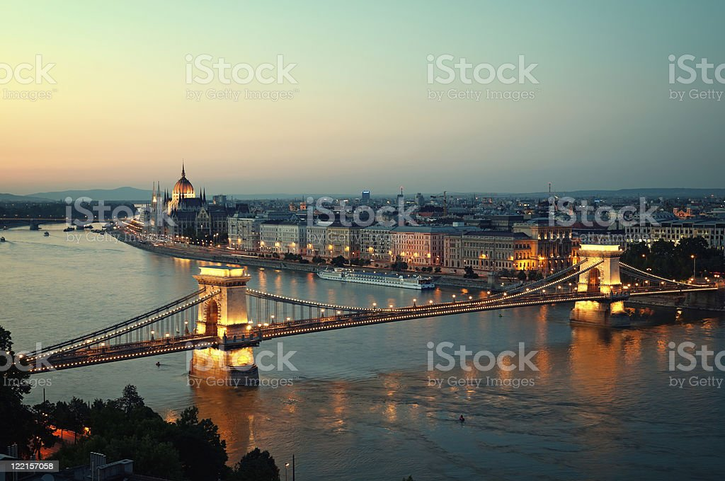 An aerial view of the Budapest skyline at night royalty-free stock photo