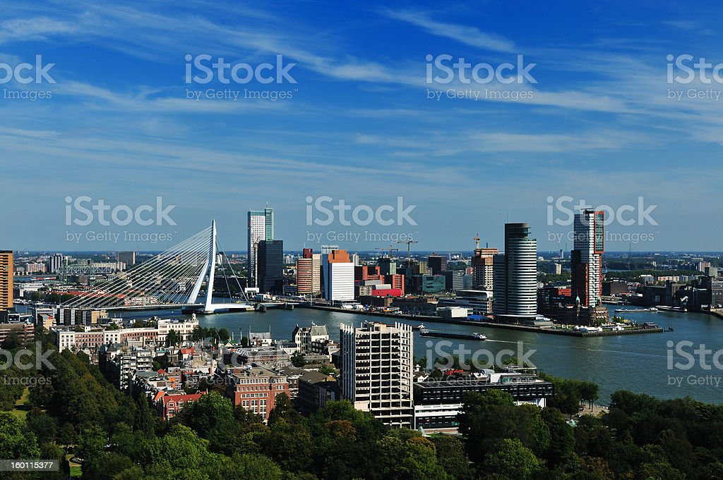 An aerial view of the city Rotterdam from the skyline royalty-free stock photo