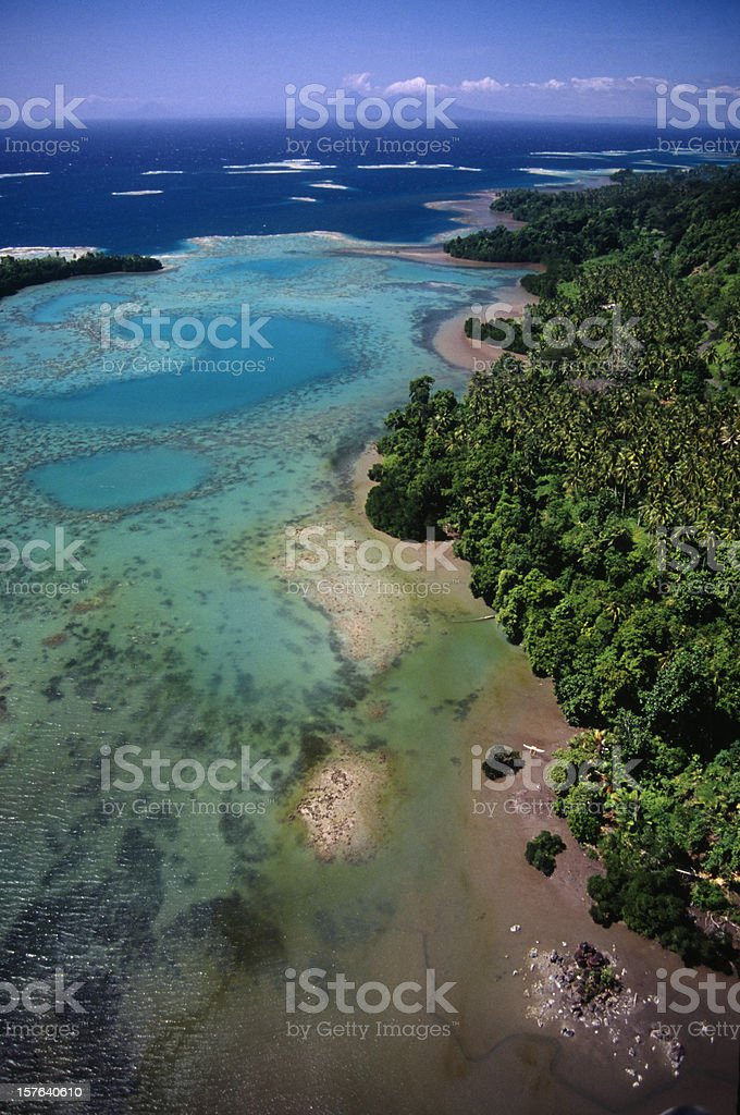 An aerial view of the Coral coast  stock photo