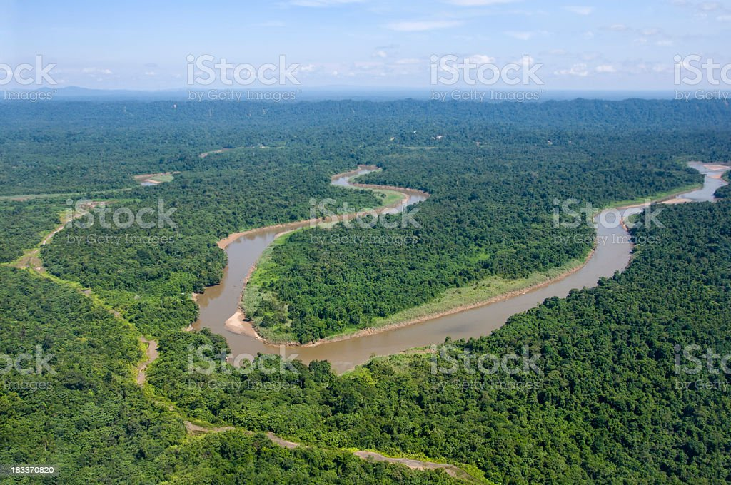 An aerial view of the Jungle river in Borneo royalty-free stock photo