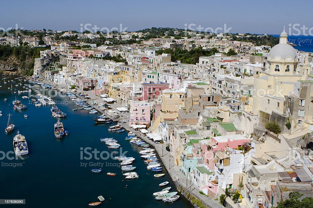 An aerial view of the Procida Fishermans Village in Italy stock photo