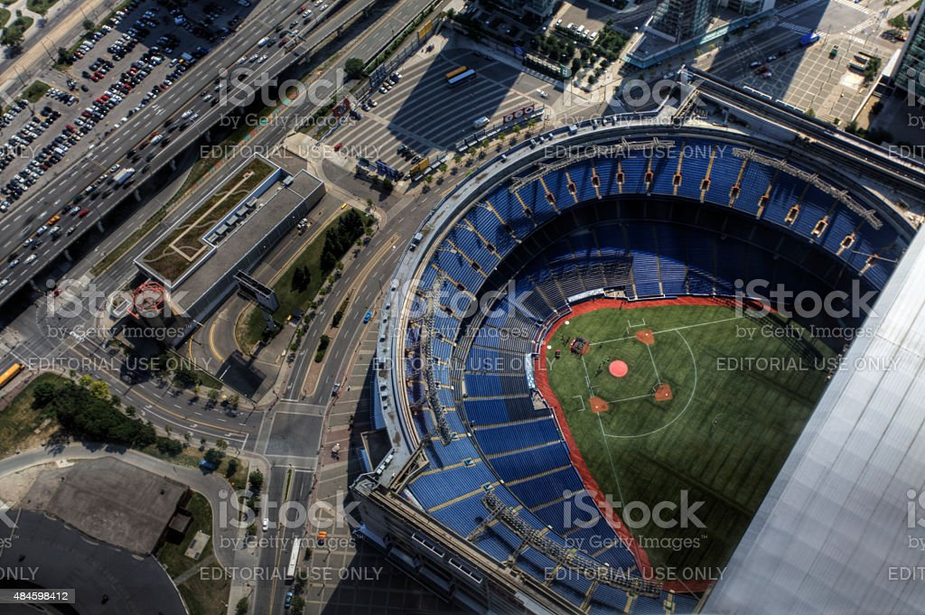 An aerial view of the Rogers Center in Toronto, Canada stock photo