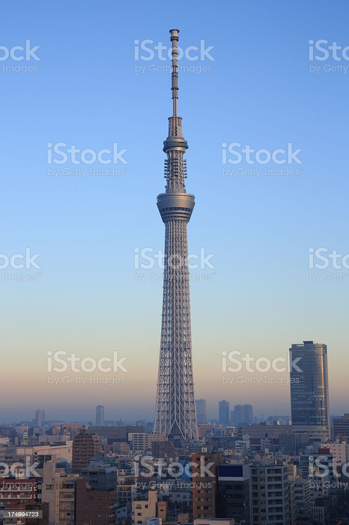 An aerial view of the Tokyo Skytree with a clear blue sky stock photo