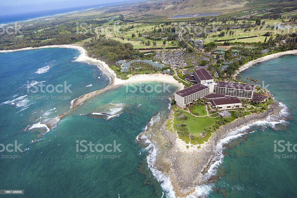 An aerial view of turtle bay Hawaii stock photo