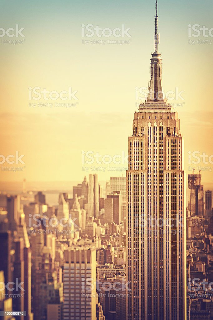 An aerial view over Manhattan in New York City stock photo