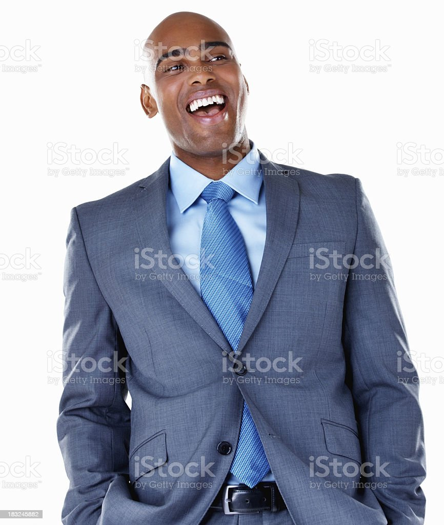 An African American business man laughing against white royalty-free stock photo
