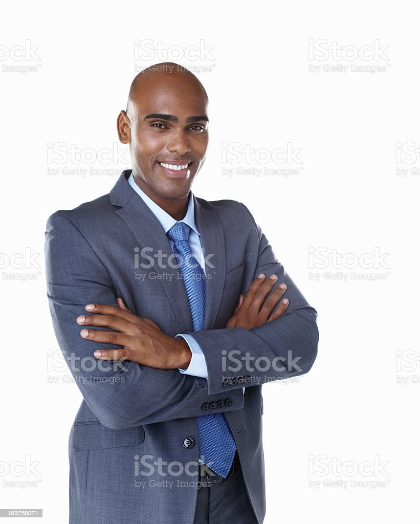 An African American business man with hands folded against white royalty-free stock photo
