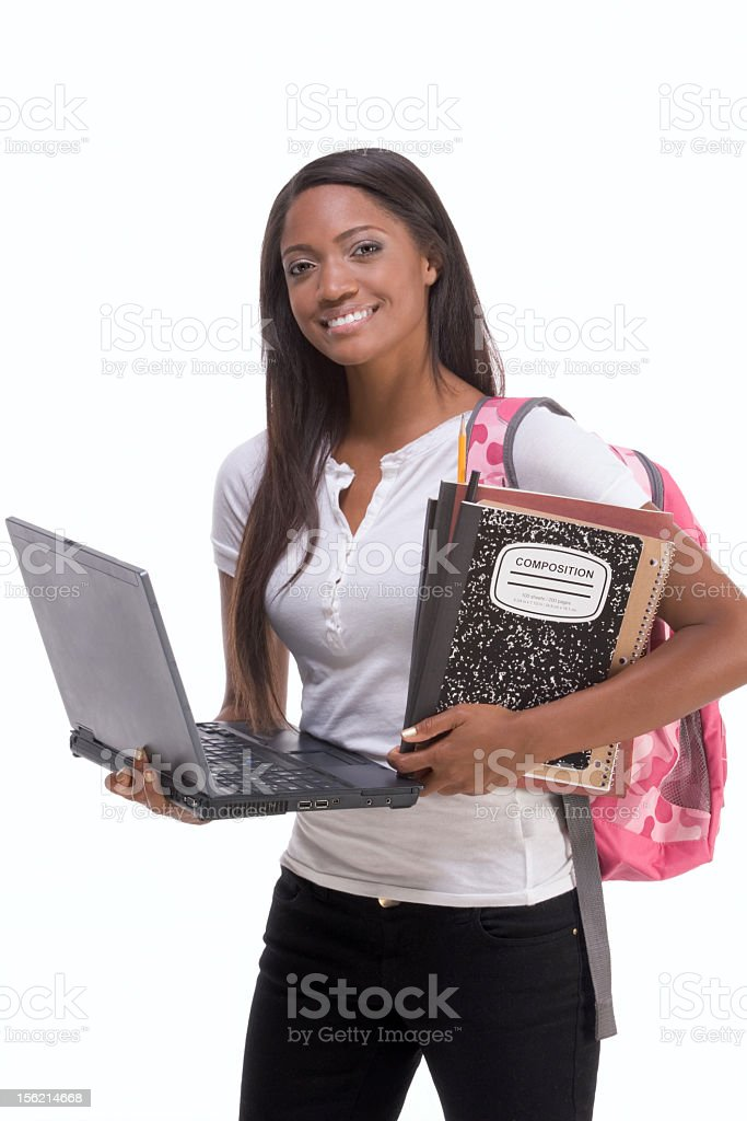 An African American college student holding a laptop royalty-free stock photo