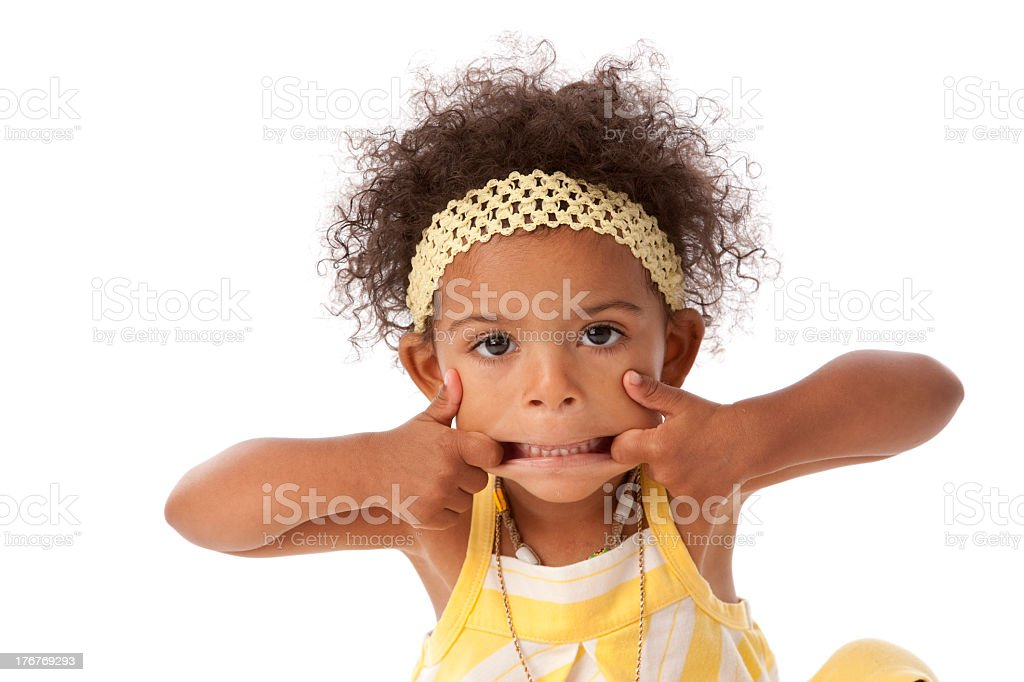 An African American toddler girl making a silly face royalty-free stock photo