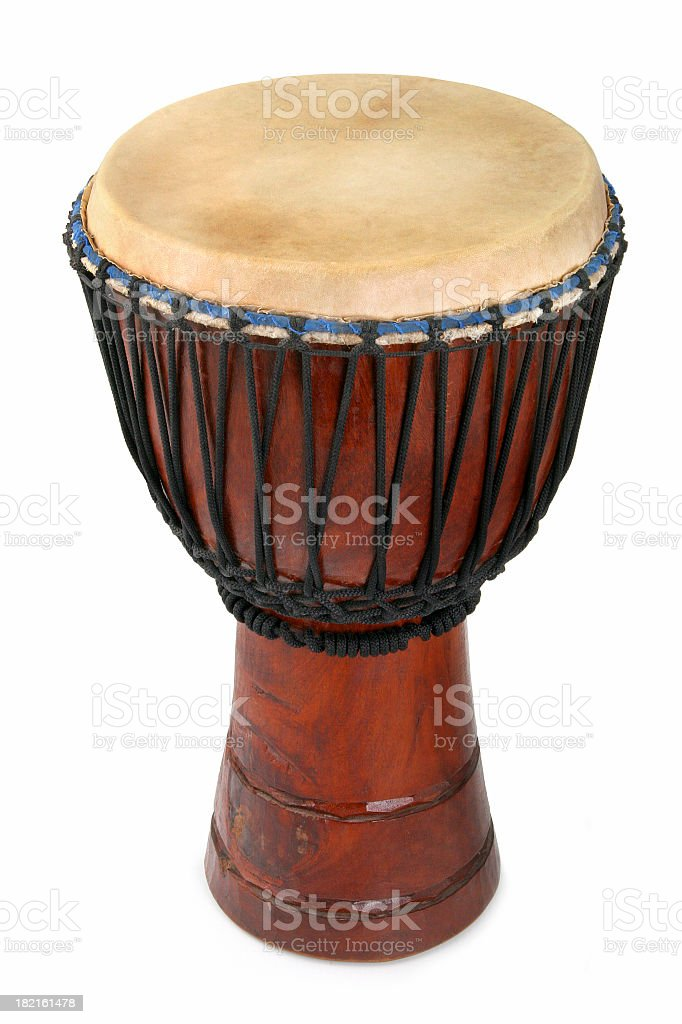 An African Djembe drum on a white background stock photo