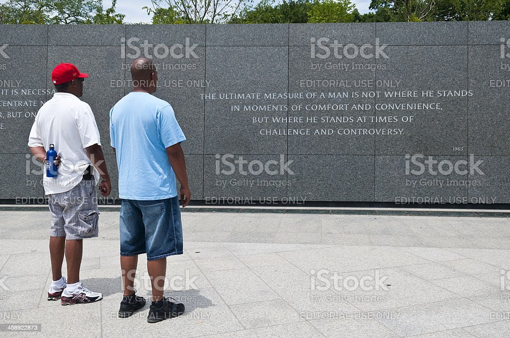 Visiting the Martin Luther King Jr Memorial in Washington DC stock photo