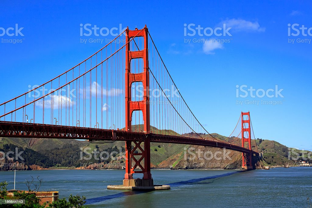 An afternoon shot of the Golden Gate Bridge in San Francisco royalty-free stock photo