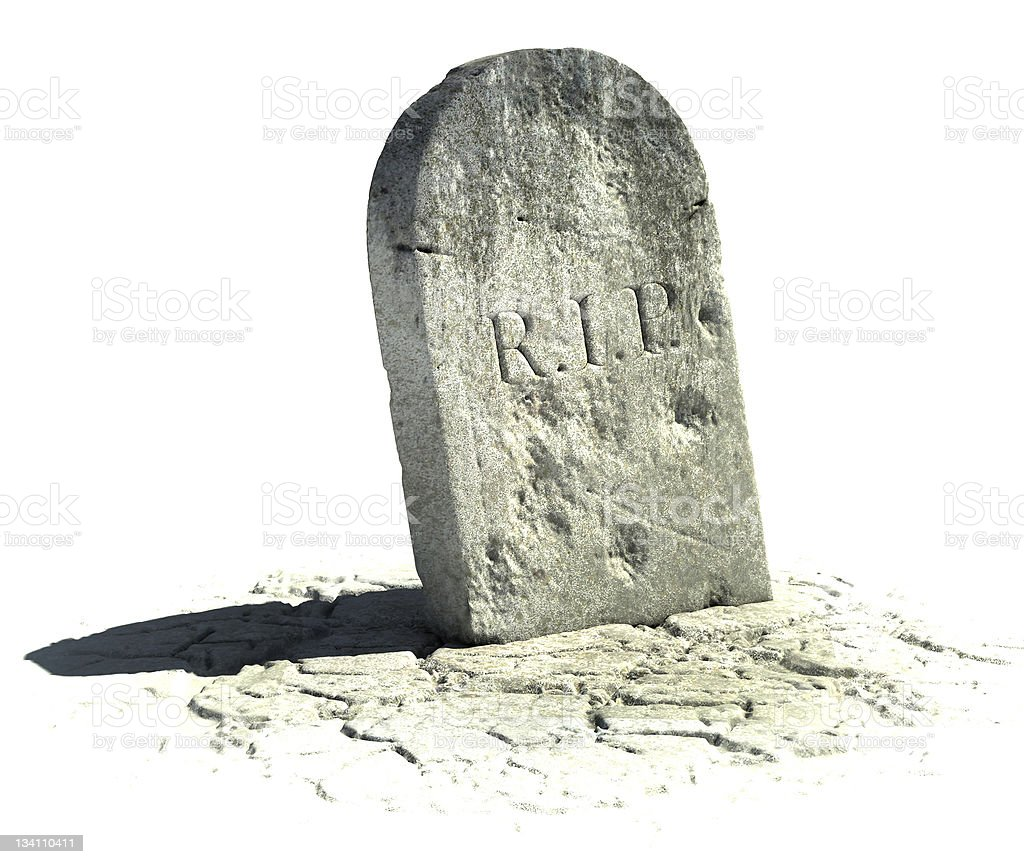 An aged shadowed grave stone on a white background stock photo