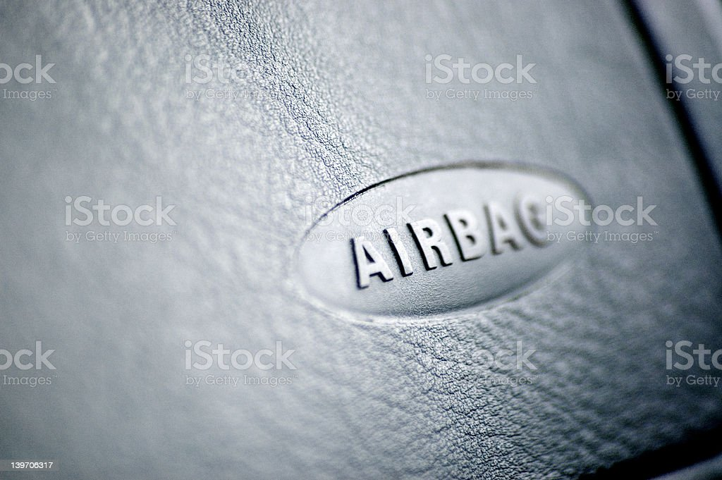 An airbag with a safety symbol stock photo