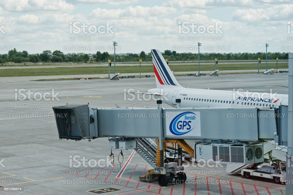 An Airbus A319 jet airplane from Air France KLM (AF) is parked at the gate at the Boryspil airport  near Kyiv, Ukraine. stock photo