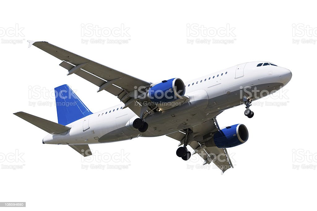 An airplane on a white background royalty-free stock photo