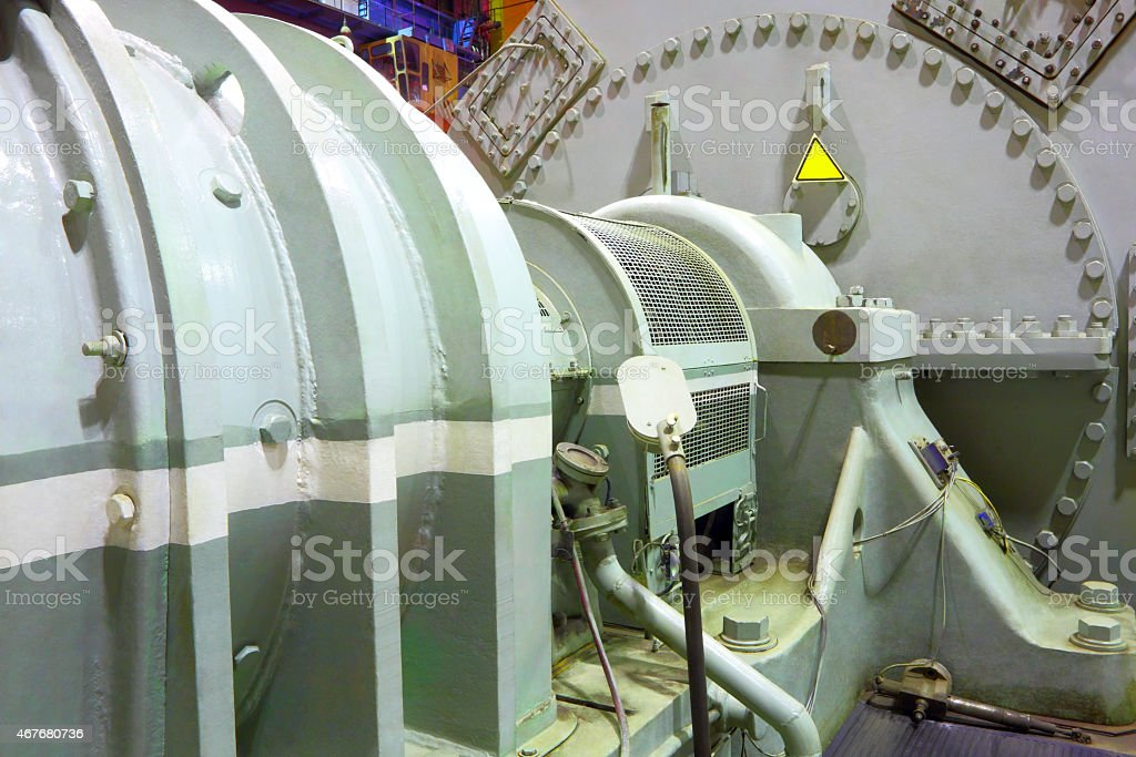 An all steel power generator steam turbine  stock photo