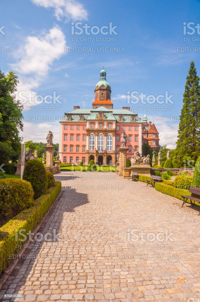 An alley leading to Ksiaz Castle. stock photo