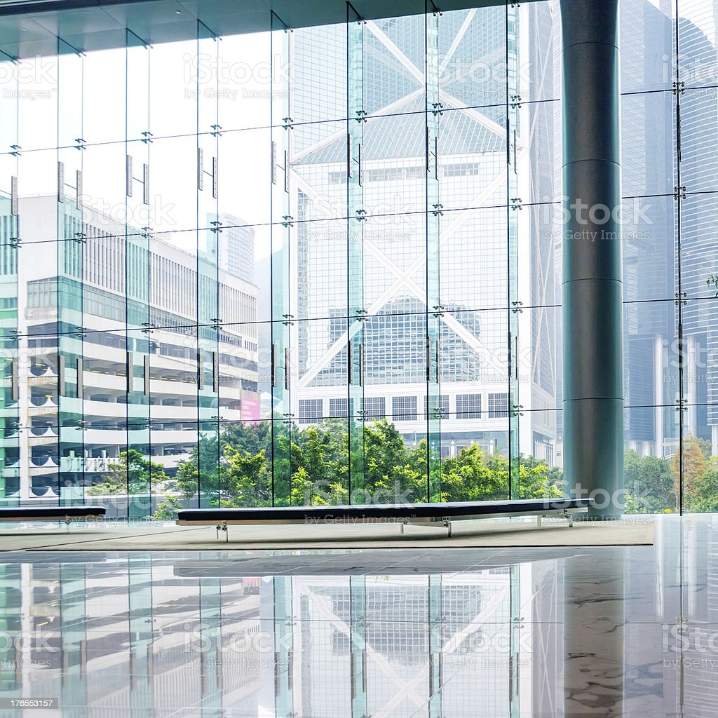 An all-glass exterior office building stock photo