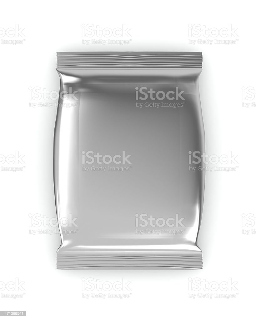 An aluminum silver foil package sealed on white background stock photo