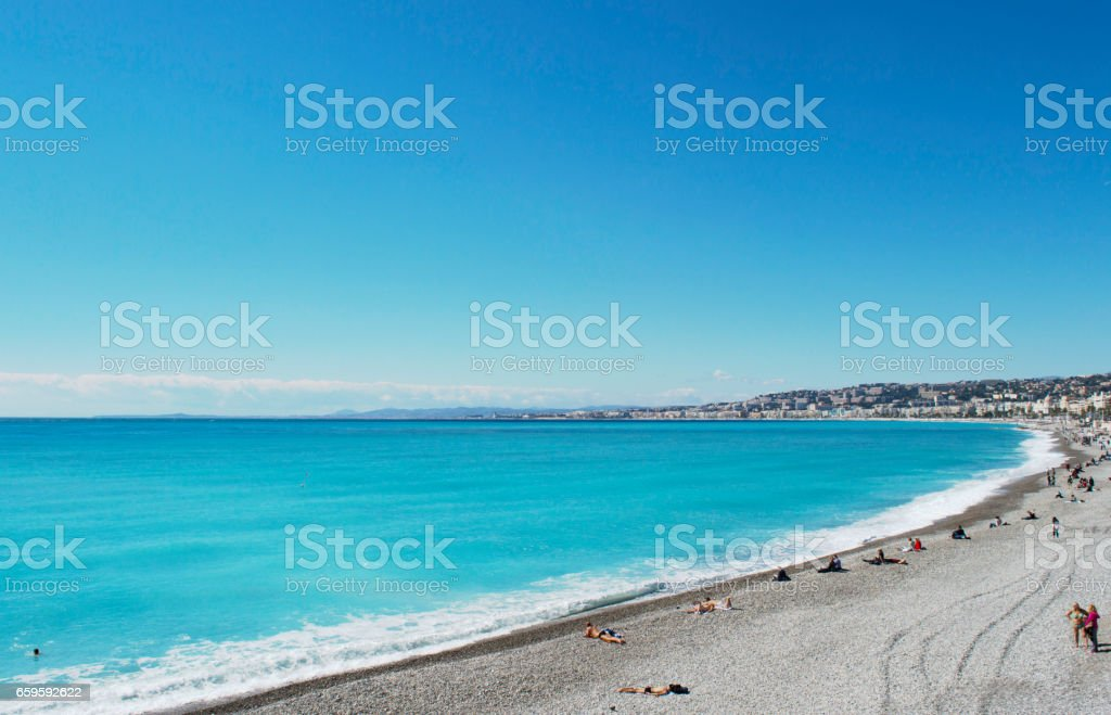 an amazing azure coast in France, the blue sea and gold beach stock photo