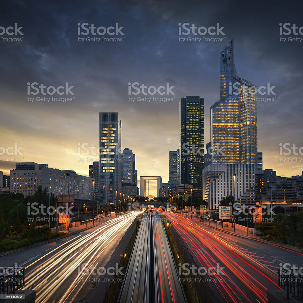 An amazing view of the fast-paced nightlife of Paris stock photo