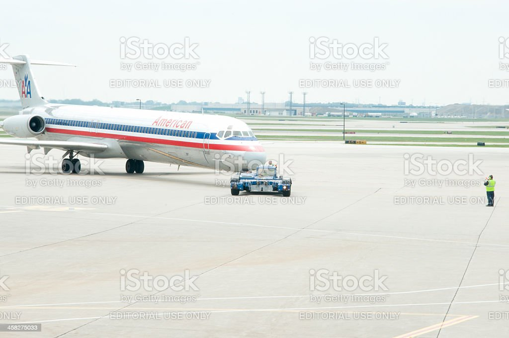 An American AIrlines jet at O'Hare royalty-free stock photo