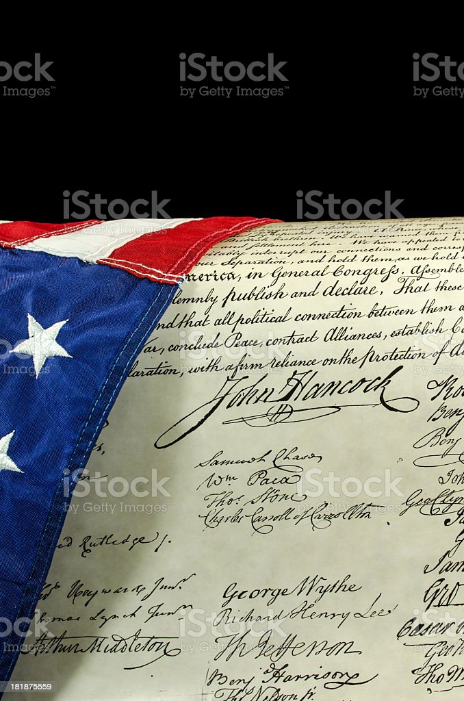 An American Flag and Declaration of Independence stock photo