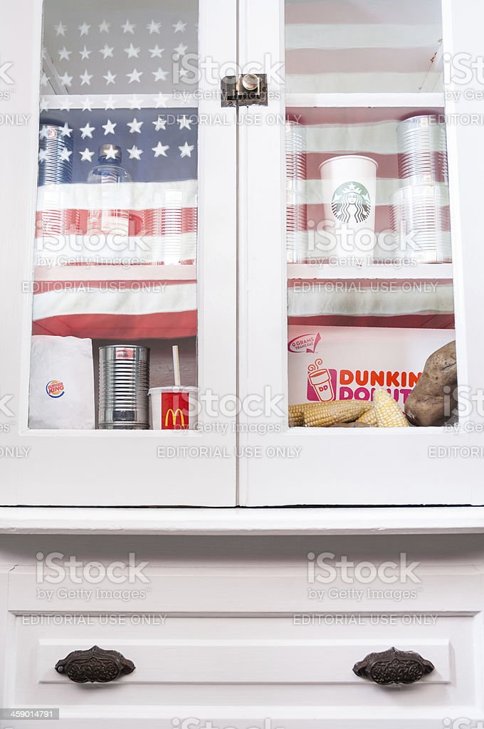 An American kitchen cabinet with fast food stock photo