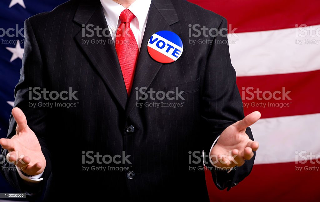 An American politician campaigning  stock photo