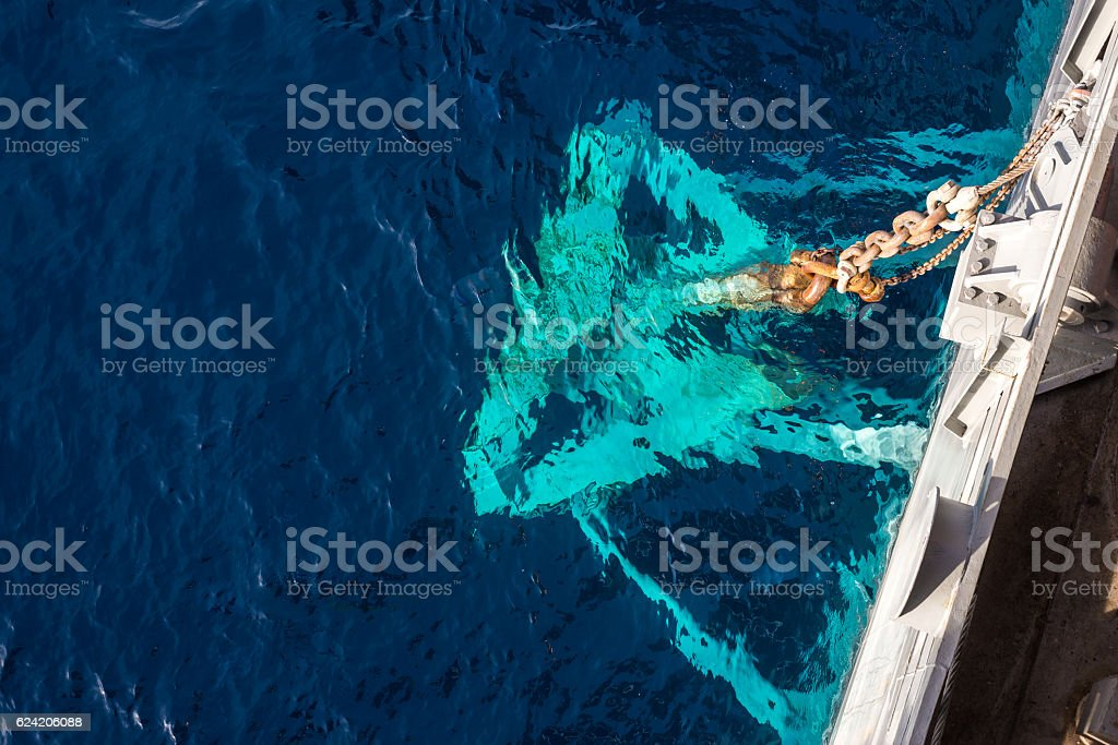 An anchor at jack up oil and gas rig stock photo