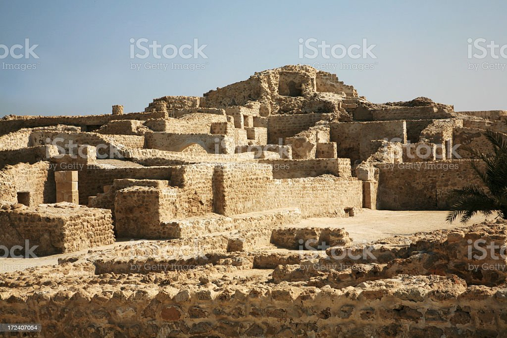 An ancient brick fort in the dessert in Bahrain stock photo