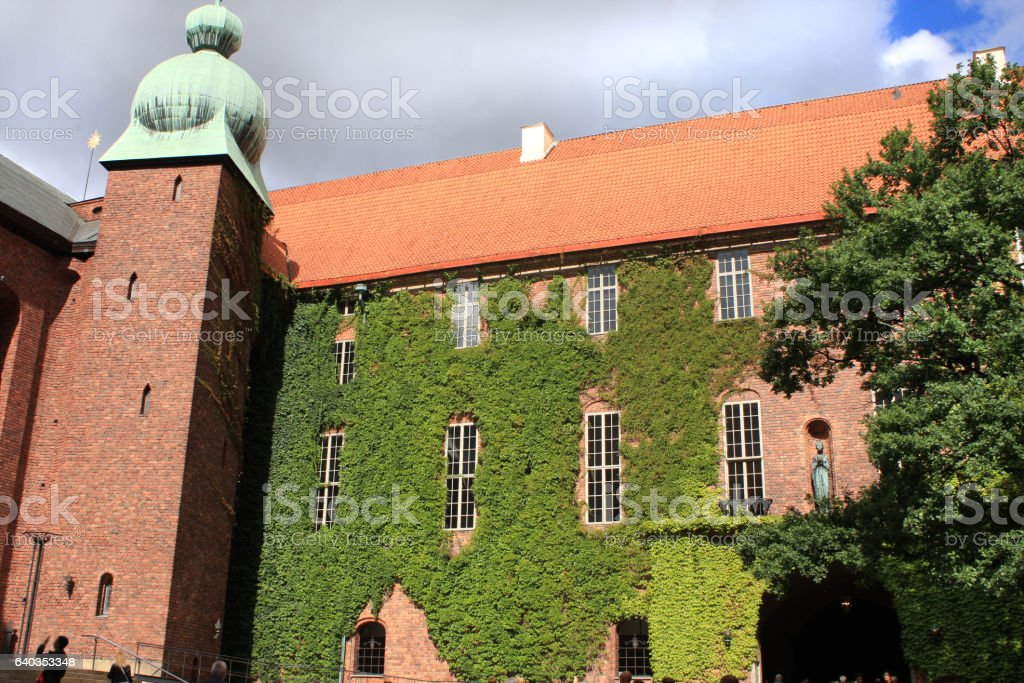 An ancient building in Stockholm used as city hall stock photo