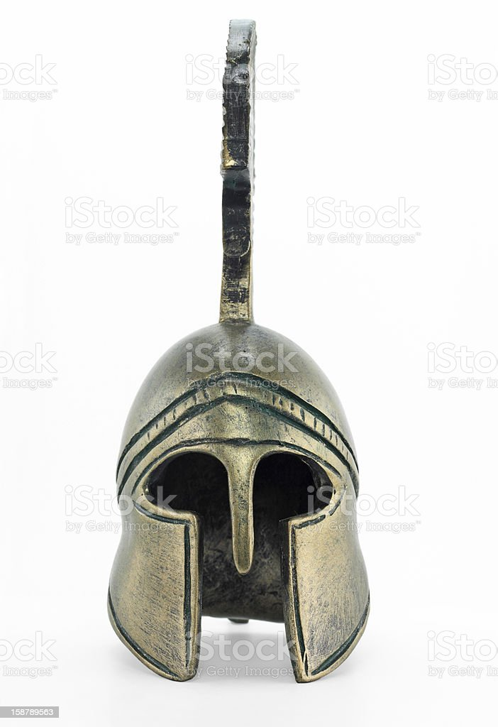 An Ancient Greek helmet on a white background stock photo
