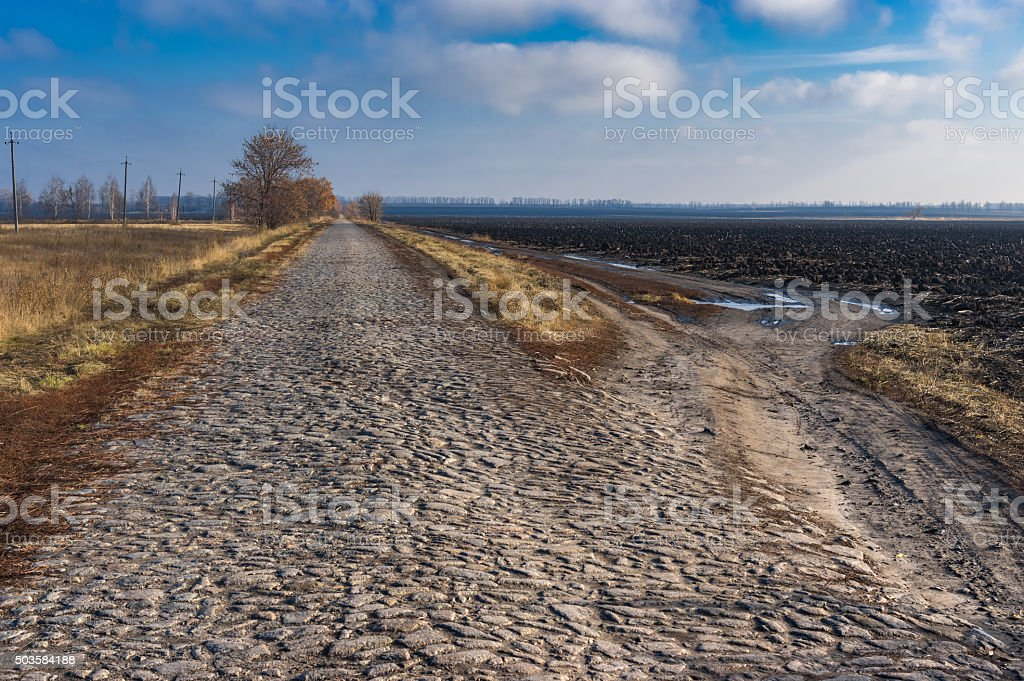 An ancient stone road stock photo